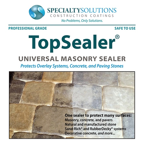 TopSealer is a universal masonry sealer that protects overlay systems, concrete, and paving stones,
