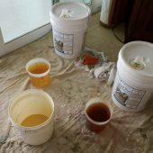 SandRich Adhesive being mixed
